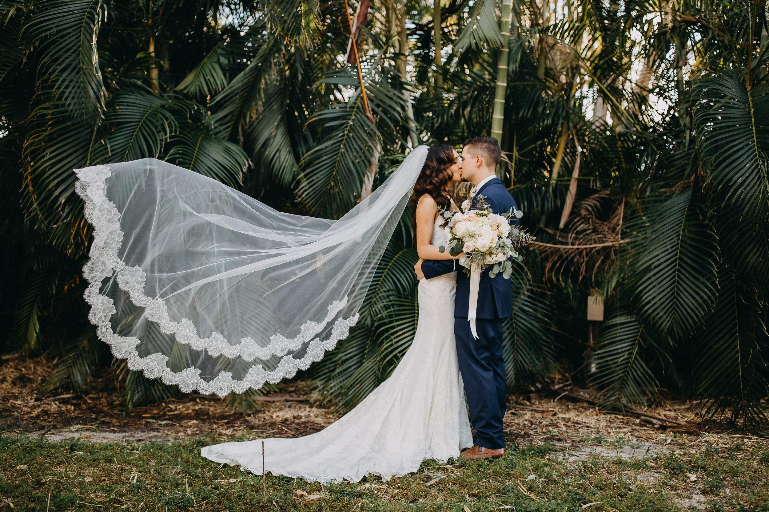 Gorgeous Long Wedding Veils - Florida Estate Wedding - Powel Crowley Estate Wedding