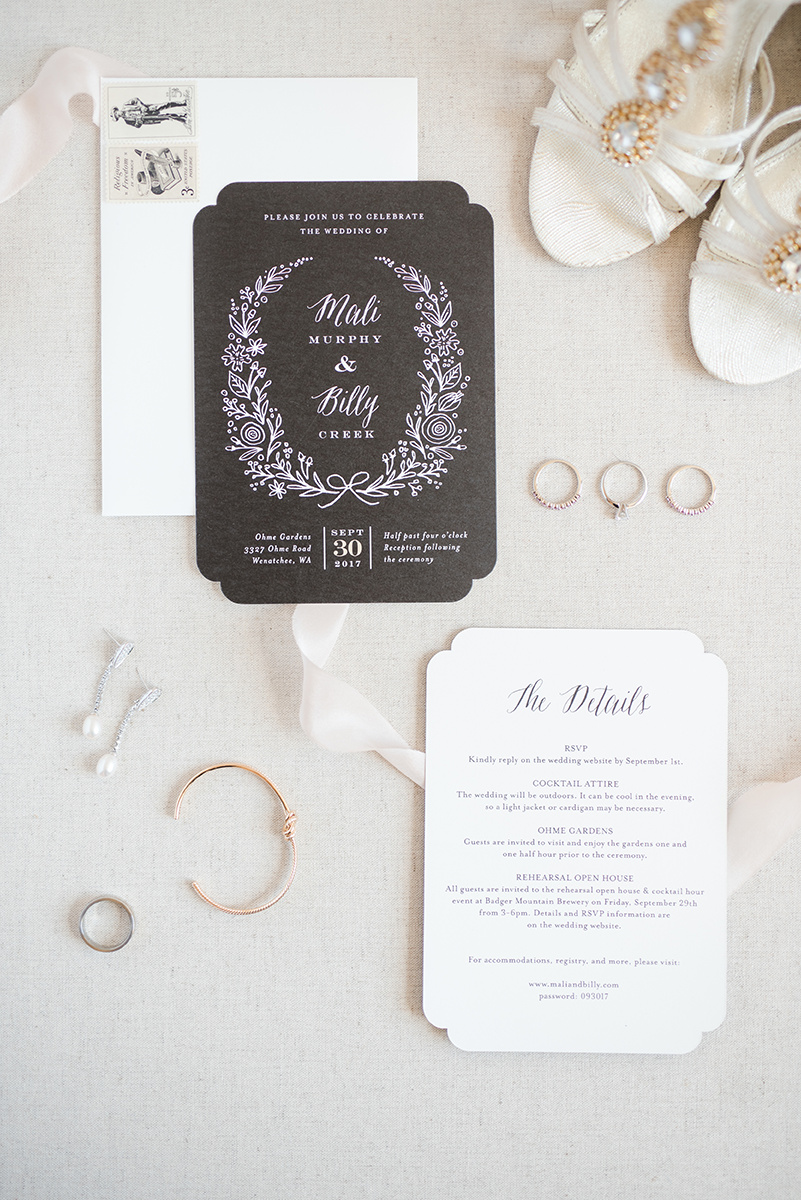 Classic Black and White Wedding Invitations - Classic Washington Garden Wedding - The Overwhelmed Bride Wedding Blog