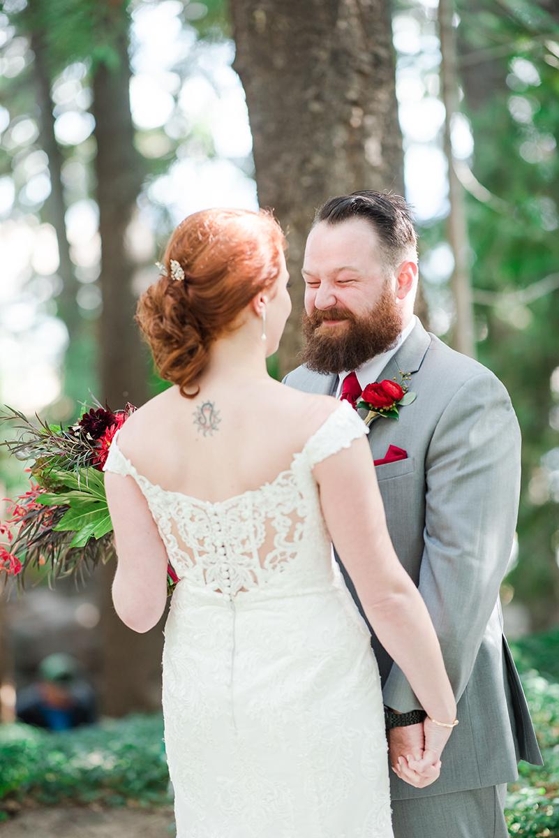 Wedding First Look Photos - Classic Washington Garden Wedding - The Overwhelmed Bride Wedding Blog