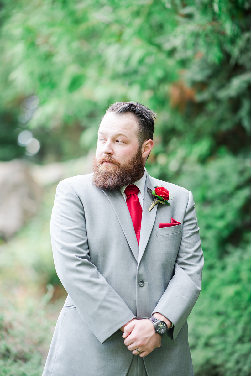 Grey and Red Groom Attire - Classic Washington Garden Wedding - The Overwhelmed Bride Wedding Blog