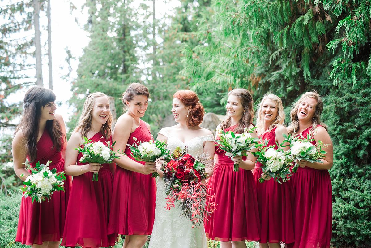 Red Bridesmaid Dresses - Classic Washington Garden Wedding - The Overwhelmed Bride Wedding Blog