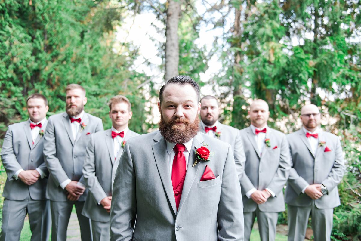 Grey and Red Groomsmen Attire - Classic Washington Garden Wedding - The Overwhelmed Bride Wedding Blog