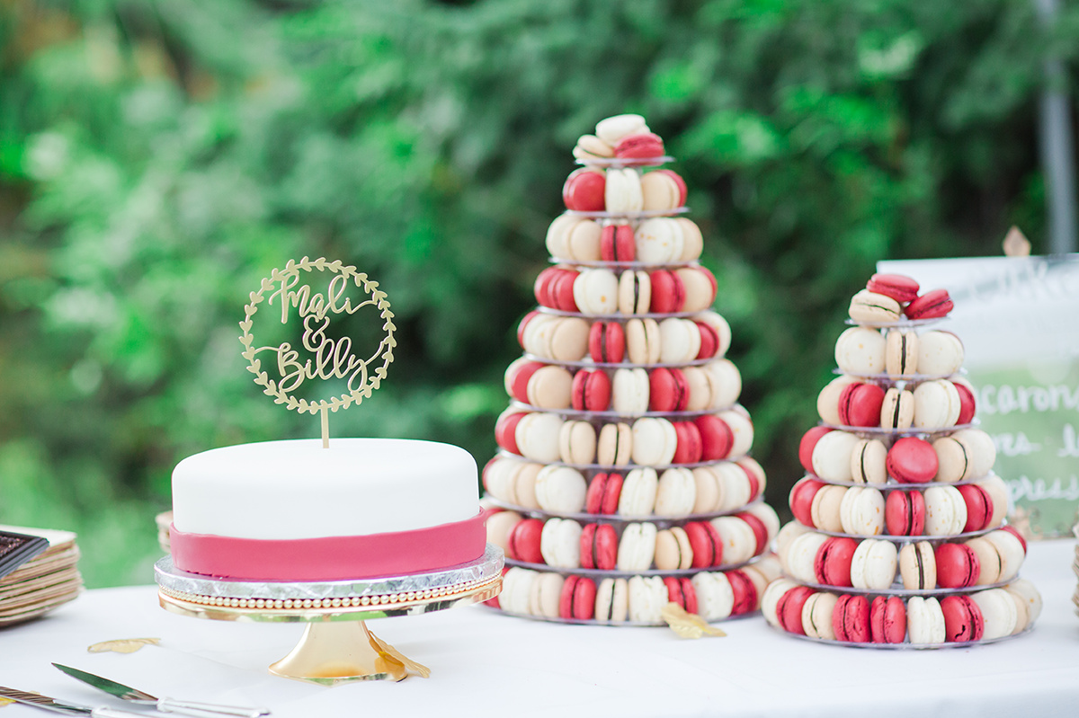 Macaron Wedding Cake - Classic Washington Garden Wedding - The Overwhelmed Bride Wedding Blog