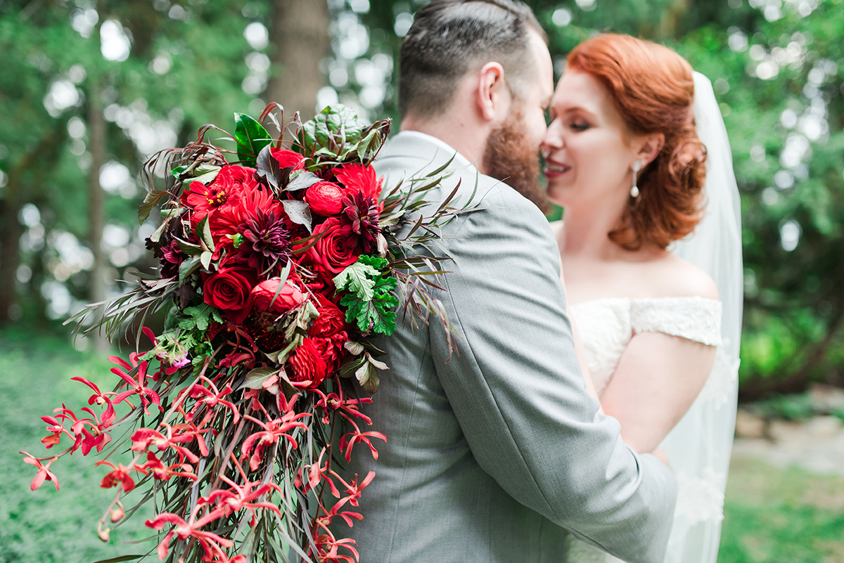 Gorgeous Red Wedding Bouquet - Classic Washington Garden Wedding - The Overwhelmed Bride Wedding Blog