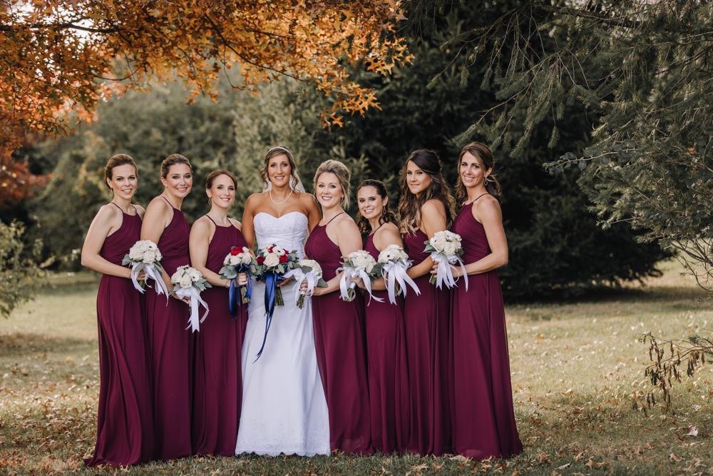 Maroon-Burgundy Bridesmaid Dresses - Wedding Inspiration - Pennsylvania Fall Wedding - The Overwhelmed Bride Wedding Blog