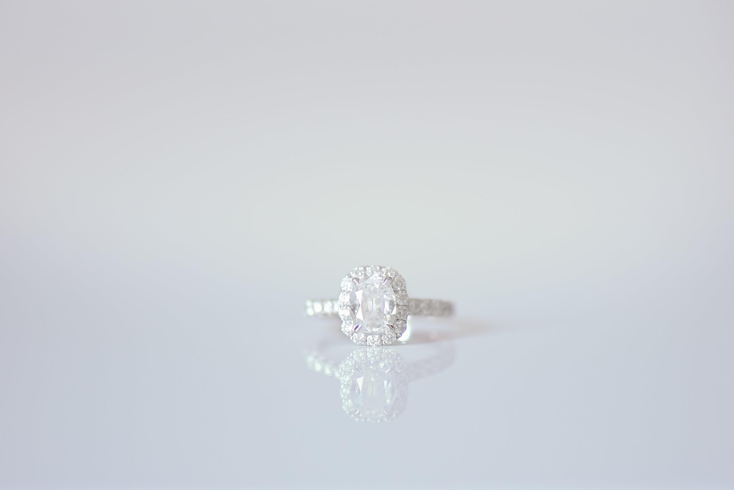 Halo Engagement Ring - Blush and White Wedding - Los Feliz Wedding