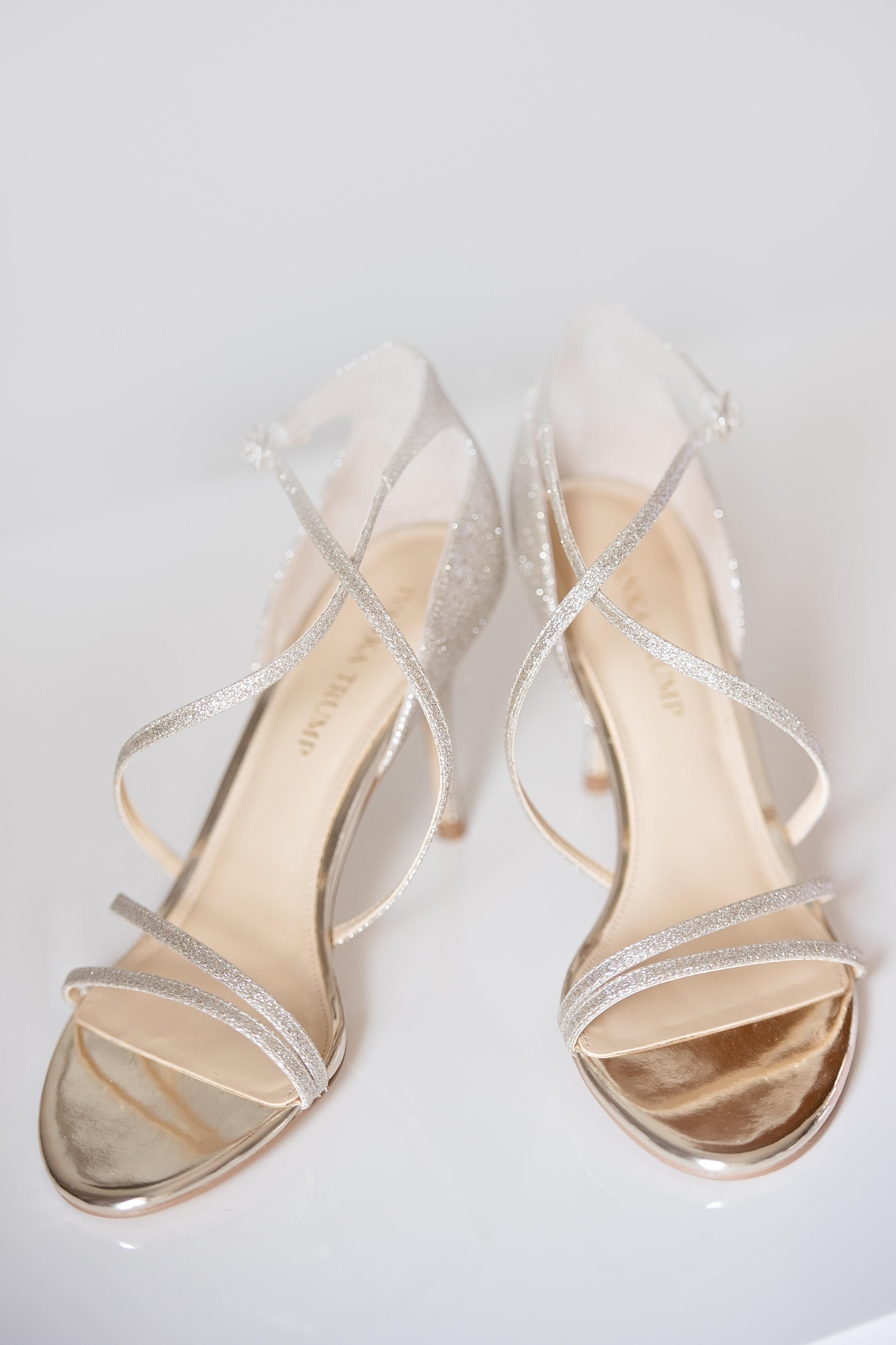 Champagne Strappy Bridal Heels - Blush and White Wedding - Los Feliz Wedding