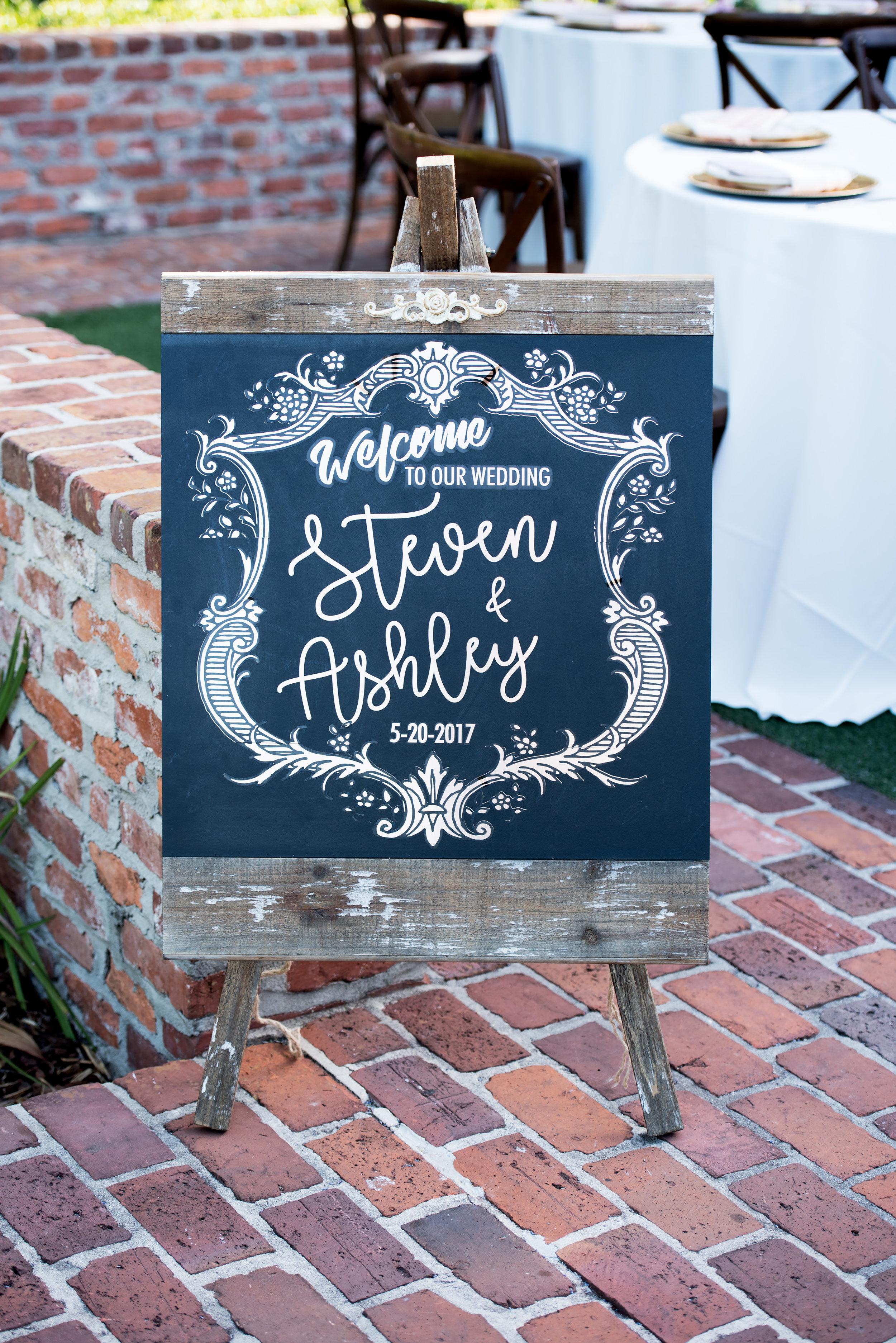 Chalkboard Wedding Sign - Blush and White Wedding - Los Feliz Wedding
