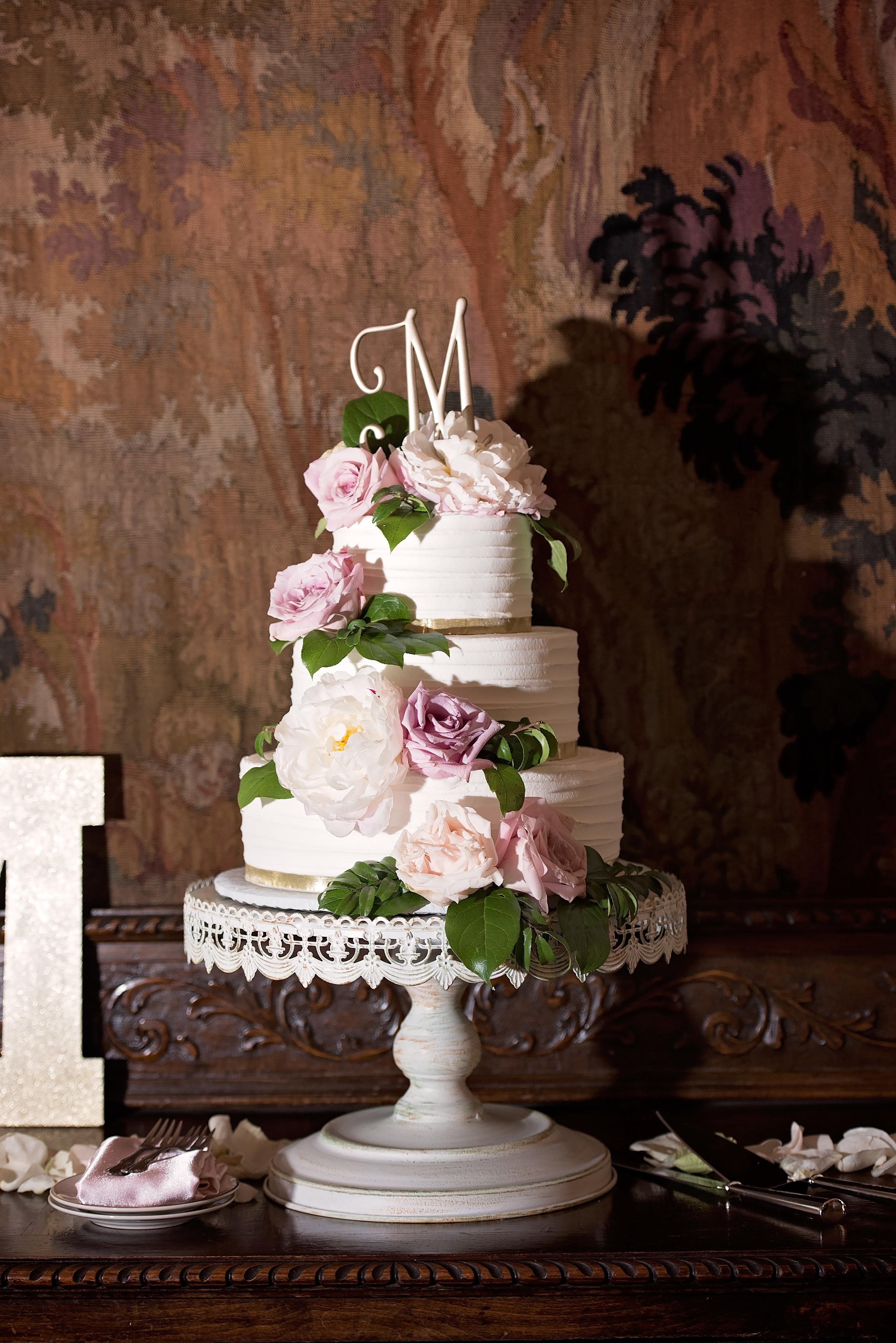 Gorgeous White Wedding Cake - Blush and White Wedding - Los Feliz Wedding