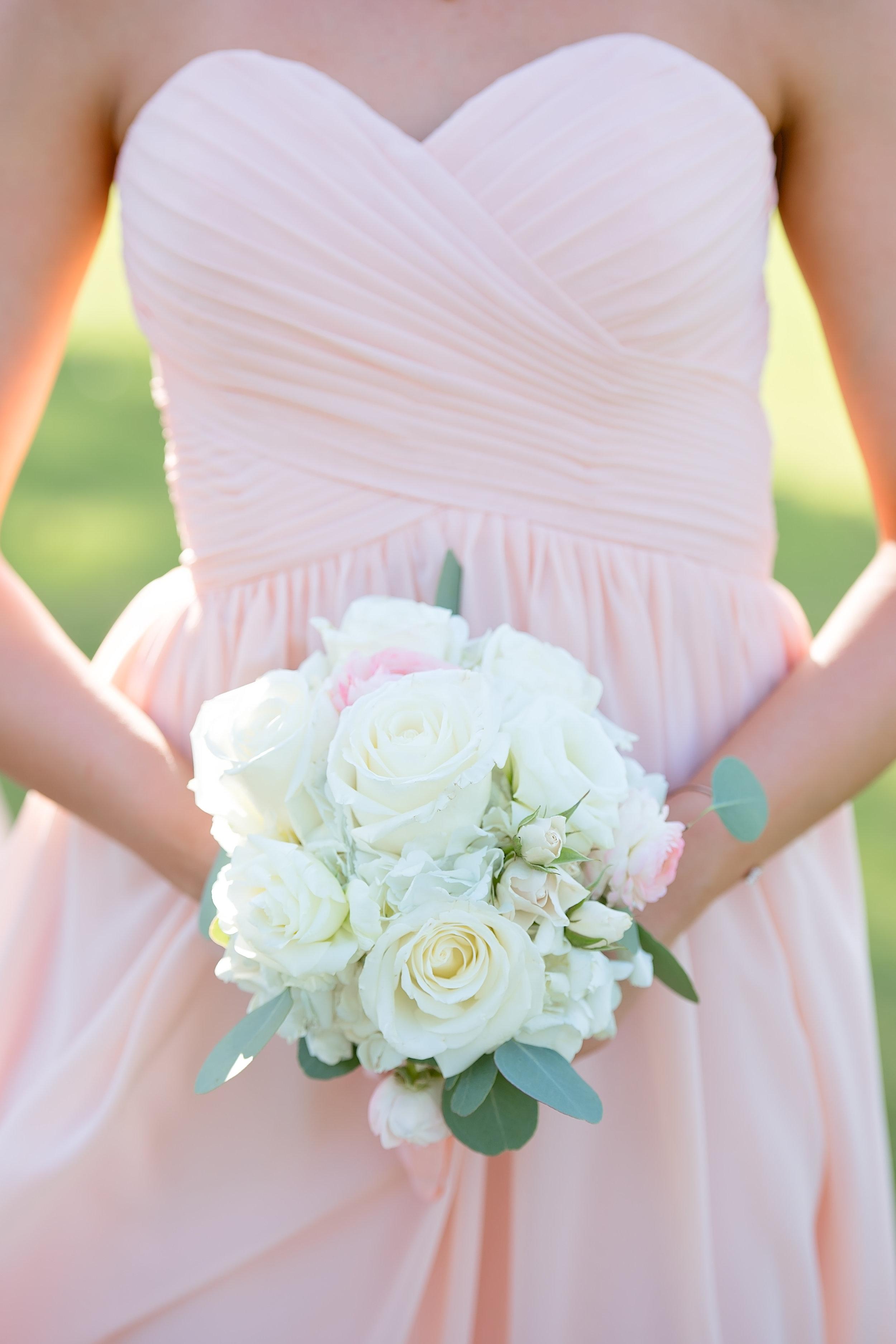 All White Wedding Bouquet - Blush and White Wedding - Los Feliz Wedding