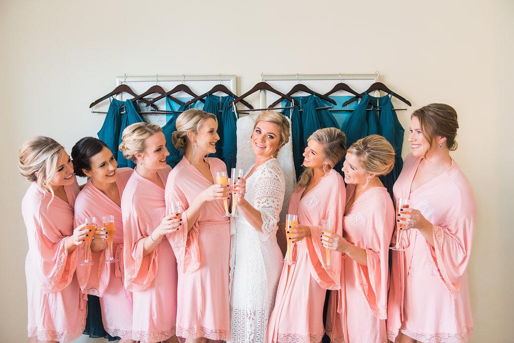 Pink Bridesmaid Robes - Minimalist Wedding - Tampa Wedding Venue