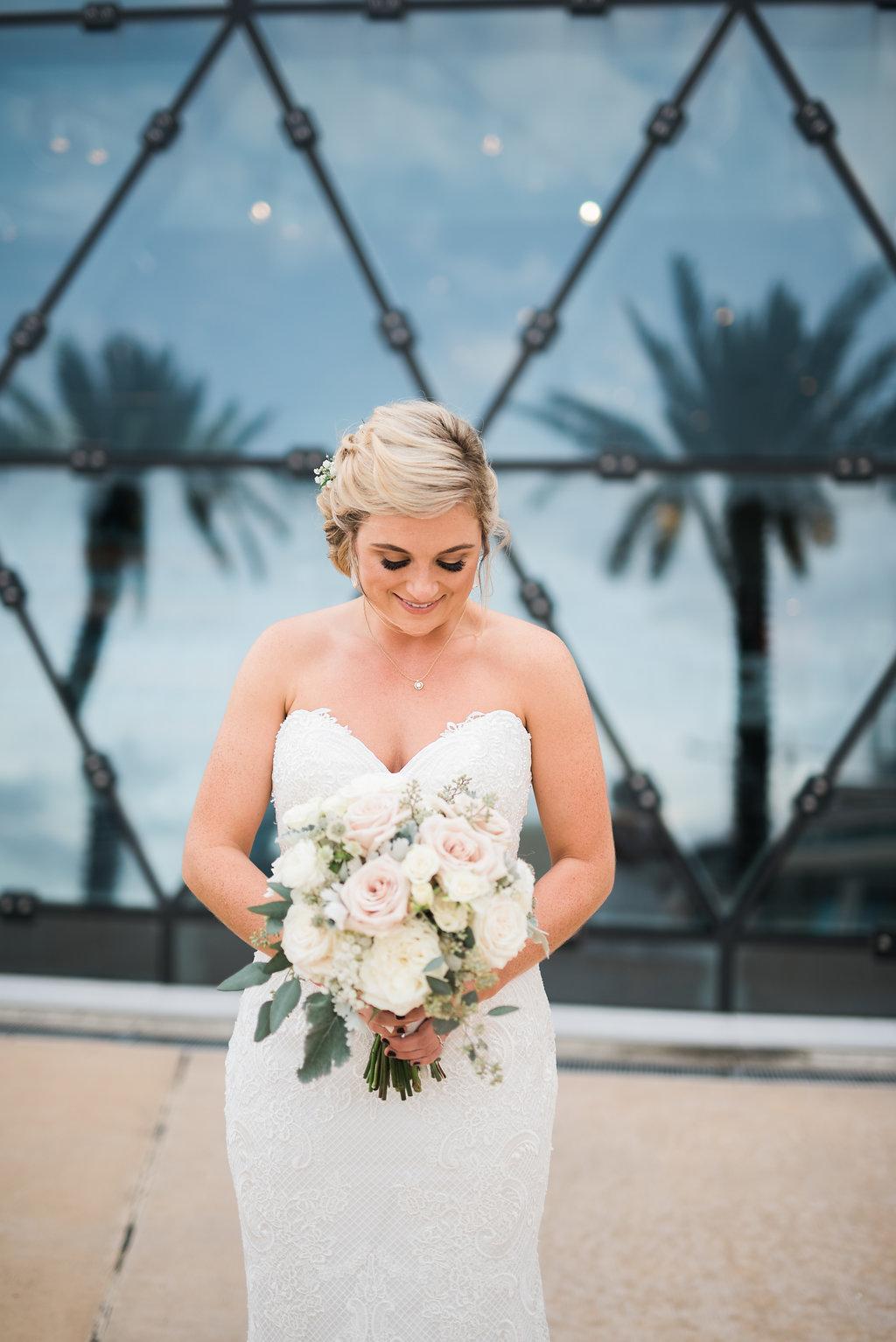 Blush and White Wedding Bouquet - Minimalist Wedding - Tampa Wedding Venue