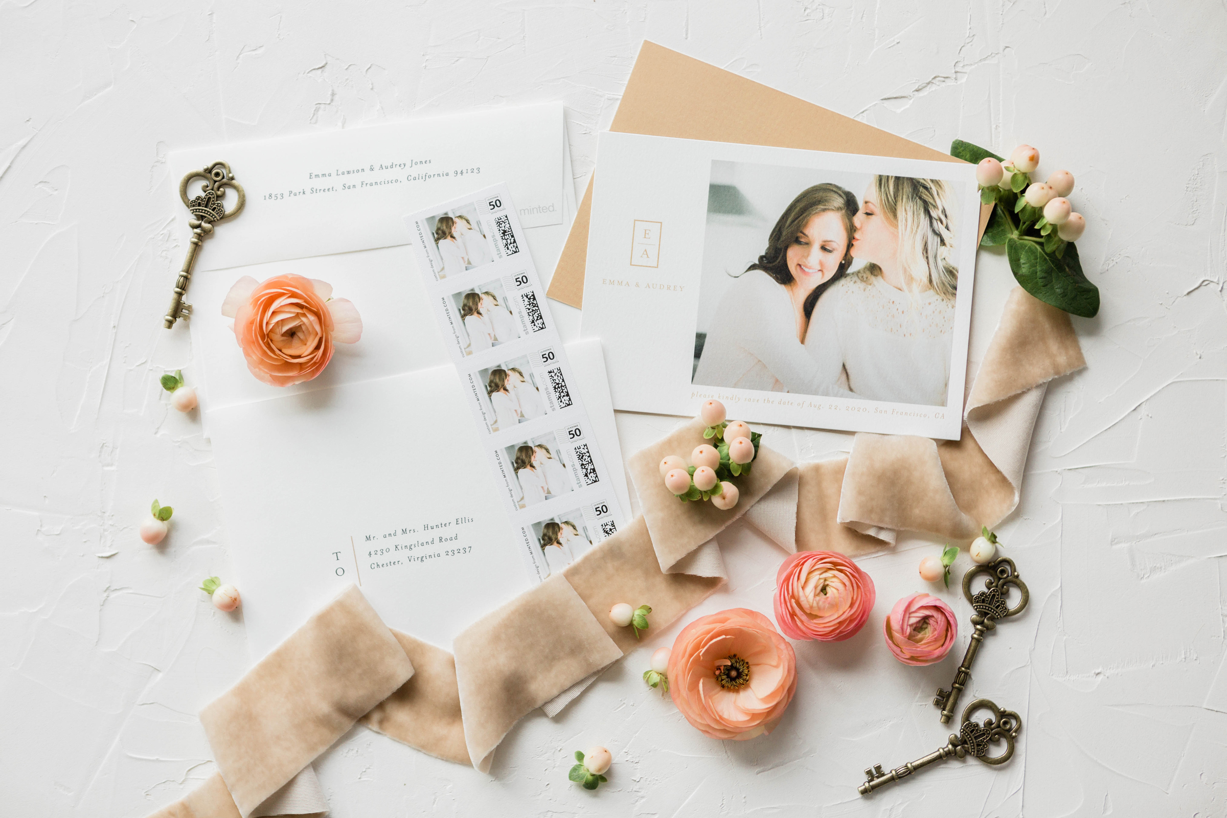 Minted Simple Save the Dates - At Home Engagement Photos - The Overwhelmed Bride Wedding Blog