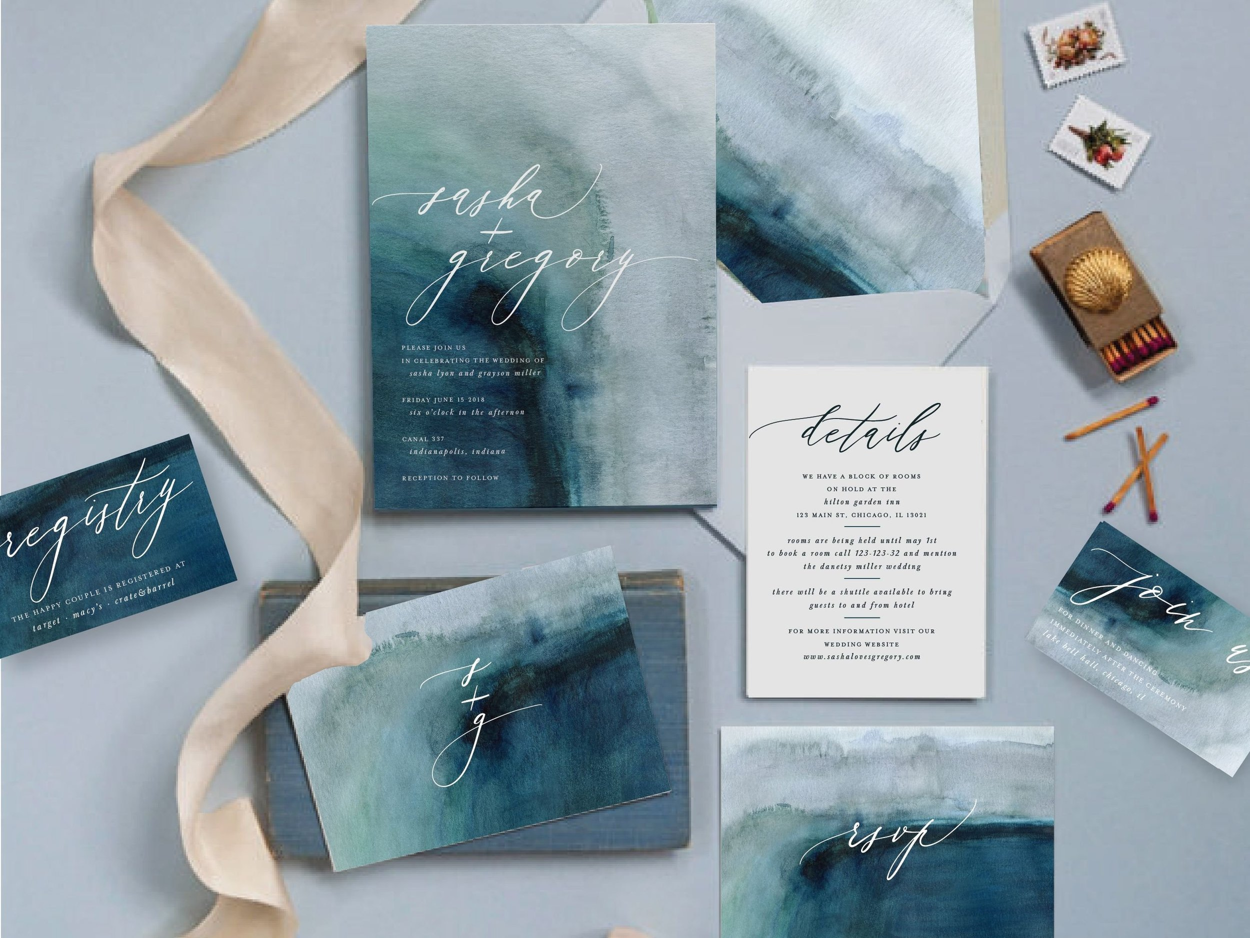 Spring Watercolor Wedding Invitations - The Overwhelmed Bride Wedding Blog