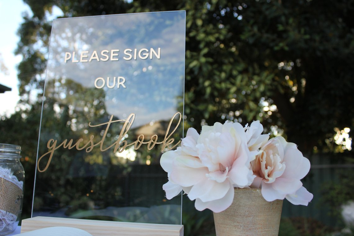 Acrylic Wedding Signs - The Overwhelmed Bride Wedding Blog