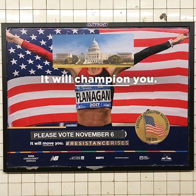 'Interruption 115', paper on subway advertisement, 46 x 60 inches, Bergen Street subway station, 2018 #subwayintervention #adtakeover #hijackedad #vote #resistancerises #champion