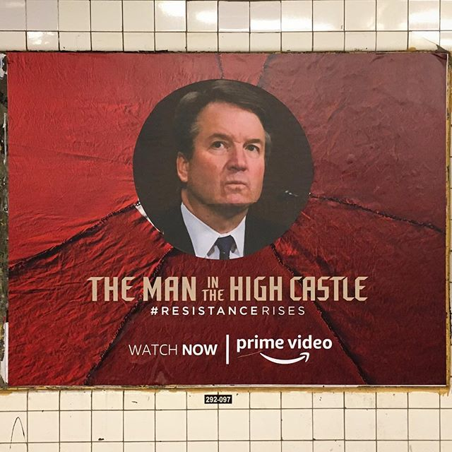 'Interruption 113', paper on subway advertisement, 46 x 60 inches, Fulton Street subway station, 2018 #subwayintervention #adtakeover #hijackedad #resistancerises #stopkavanaugh