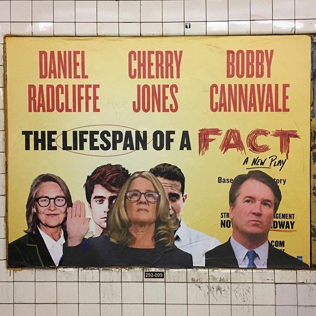 'Interruption 112', paper on subway advertisement, 46 x 60 inches, Fulton Street subway station, 2018 #subwayintervention #adtakeover #hijackedad #lifespanofafact #stopkavanaugh