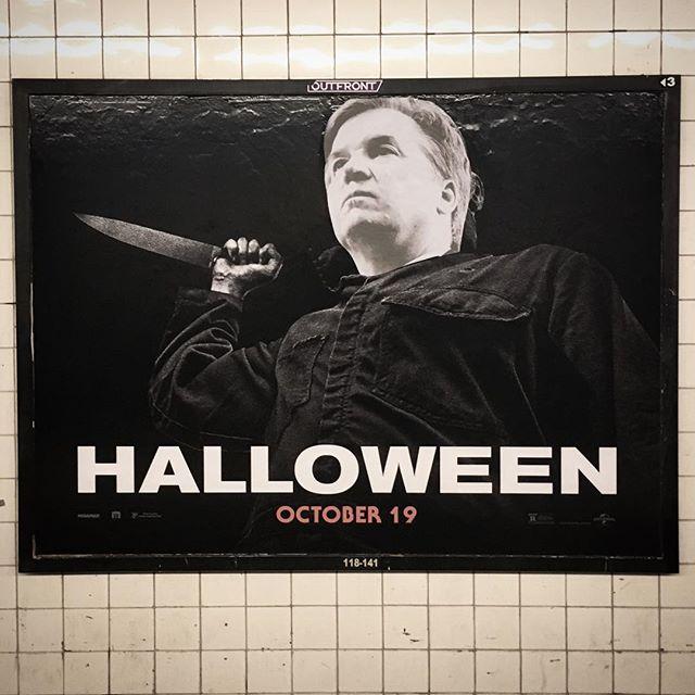 'Interruption 110', paper on subway advertisement, 46 x 60 inches, 3rd Avenue subway station, 2018 #subwayintervention #adtakeover #hijackedad #horror #stopkavanaugh