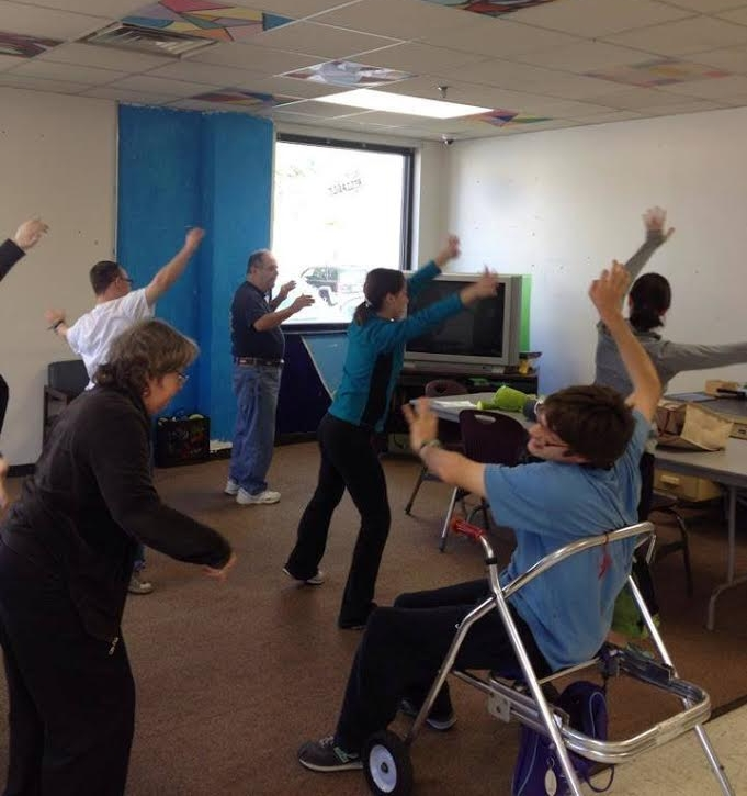 Nicklos teaching a Therapeutic Movement Class through the Athens County Board for Developmental Disabilities