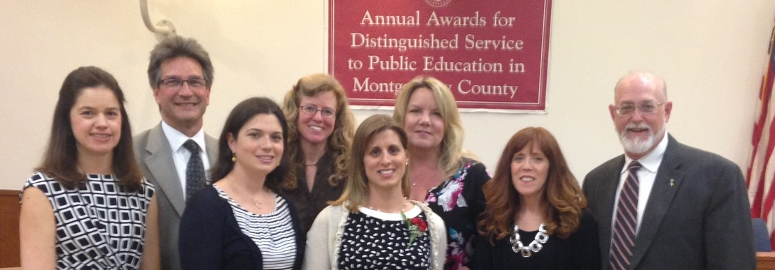DSNMC received the Distinguished Service to Public Education award by the Montgomery County Board of Education for the TFS conference, which is co-hosted by F.R.I.E.N.D.S. of Frederick County. (L to R: Kathy Myers, Denny Weikert, Katie Routzahn, Julie Ryan-Silva, Heather Sachs, Leslie Bisignano, Ricki Sabia, and Bob Walsh.)