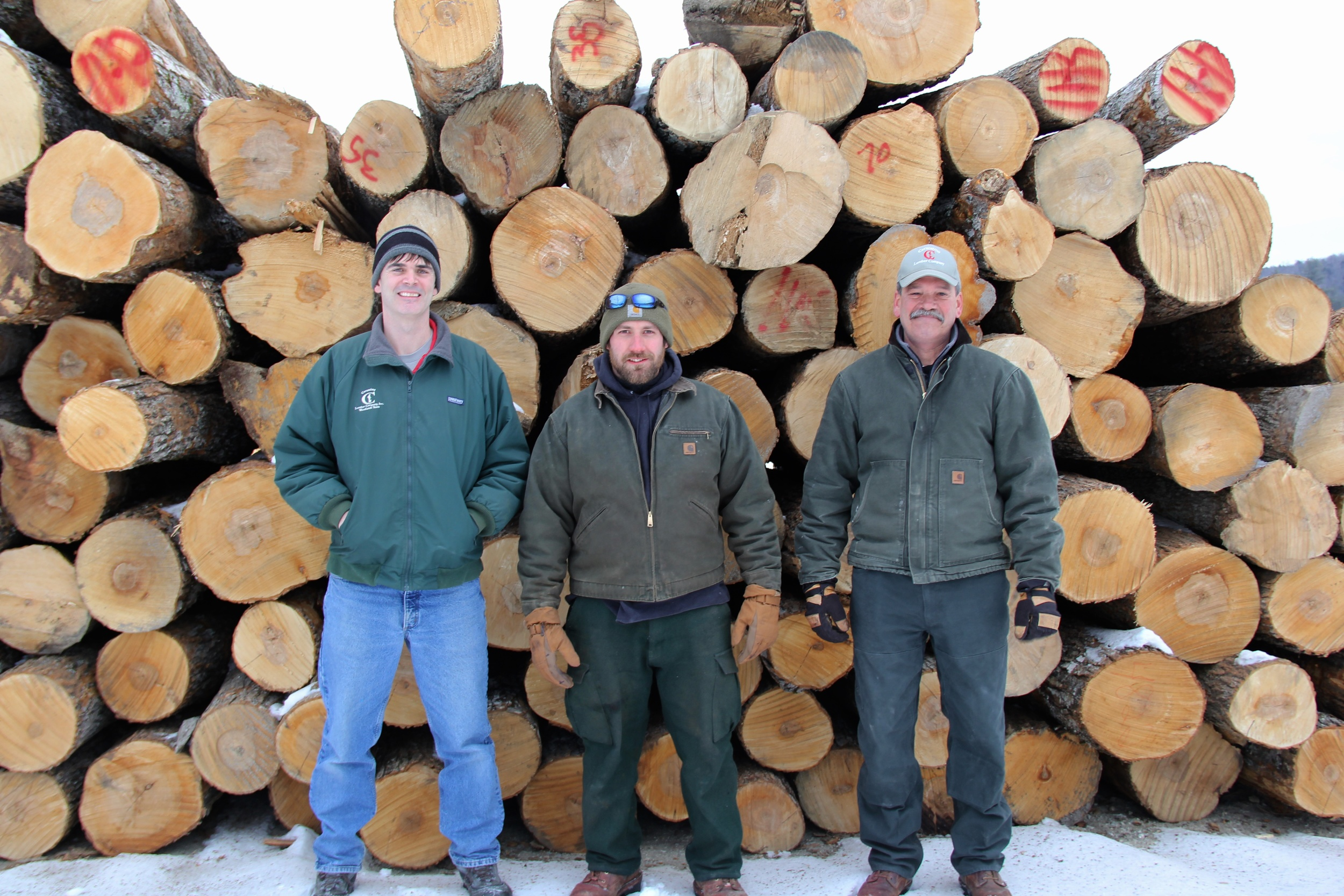 L to R- Eric Parenti, Forester; Nate Taylor, Log Scaler; Jim Brown, Manager (Cersosimo Lumber Co. - Rumney Mill).jpg