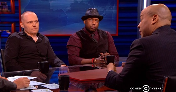 Comedian Bill Burr and rapper/activist Talib Kweli speak with host Larry Wilmore, Indian model/actress Shenaz Treasury and New Jersey-based U.S. Senator Cory Booker on   The Nightly Show  .