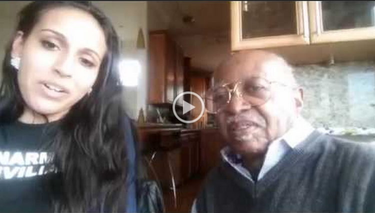 """""""Abby"""" Bobè and  Roy Clay Sr . discussing his experiences in Ferguson."""