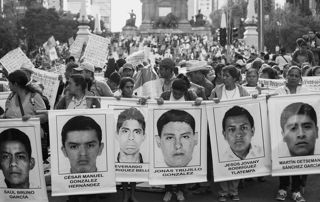 Parents of missing Ayotzinapa students lead a march through Mexico City last October. Brett Gundlock / Boreal Collective