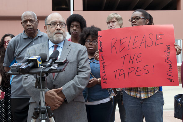 """""""We don't have the complete picture,"""" said state Sen. Vincent Fort, D-Atlanta, at a press conference calling for release of camera footage related to Alexia Christian's death. """"We don't have all the information."""" Photo credit:  Joeff Davis"""