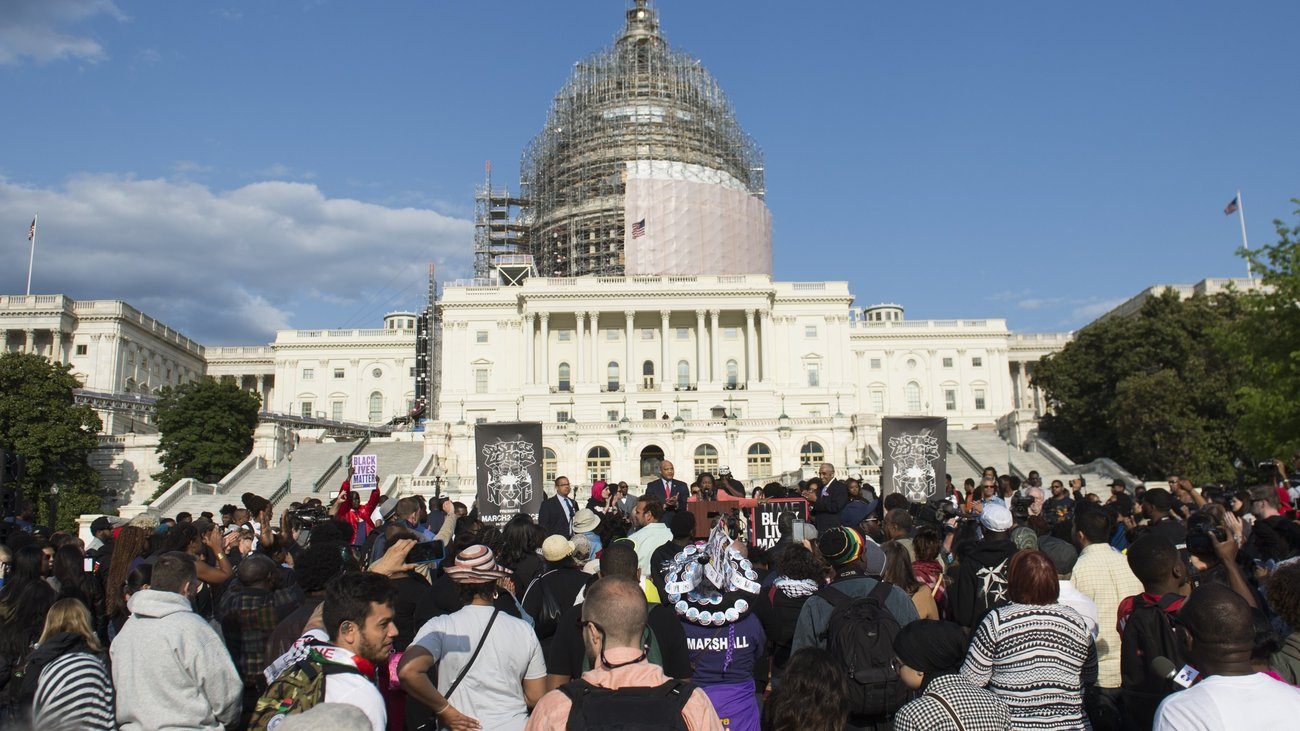 Demonstrators participated in a March2Justice for criminal justice reform legislation outside the Capitol in April. Lawmakers who are working to on fixes to the justice system say recent unrest is pushing them to act.   Saul Loeb/AFP/Getty Images