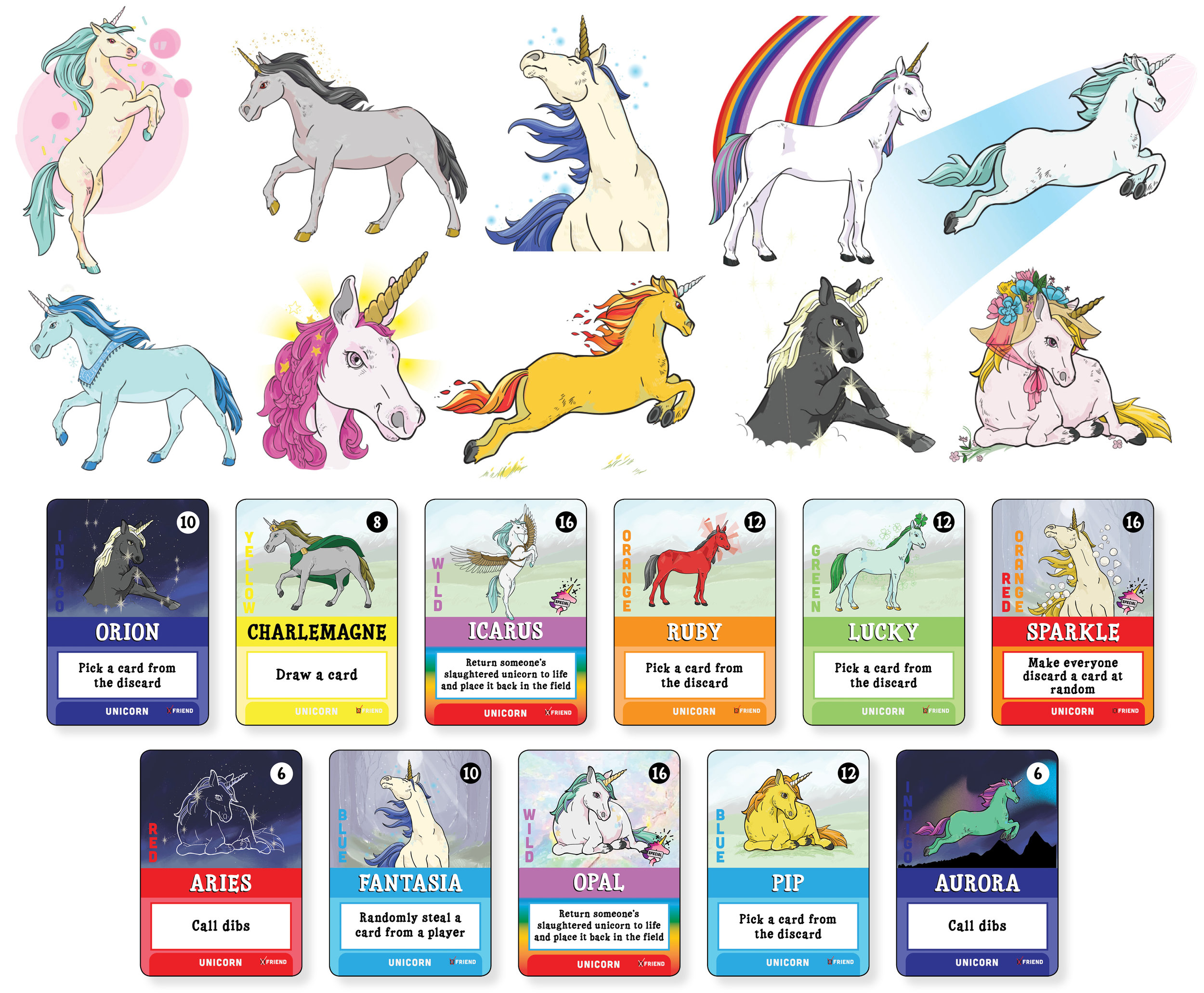 Final artwork for Unicorns Friend or Foe: Friend Edition included 36 styled unicorns.