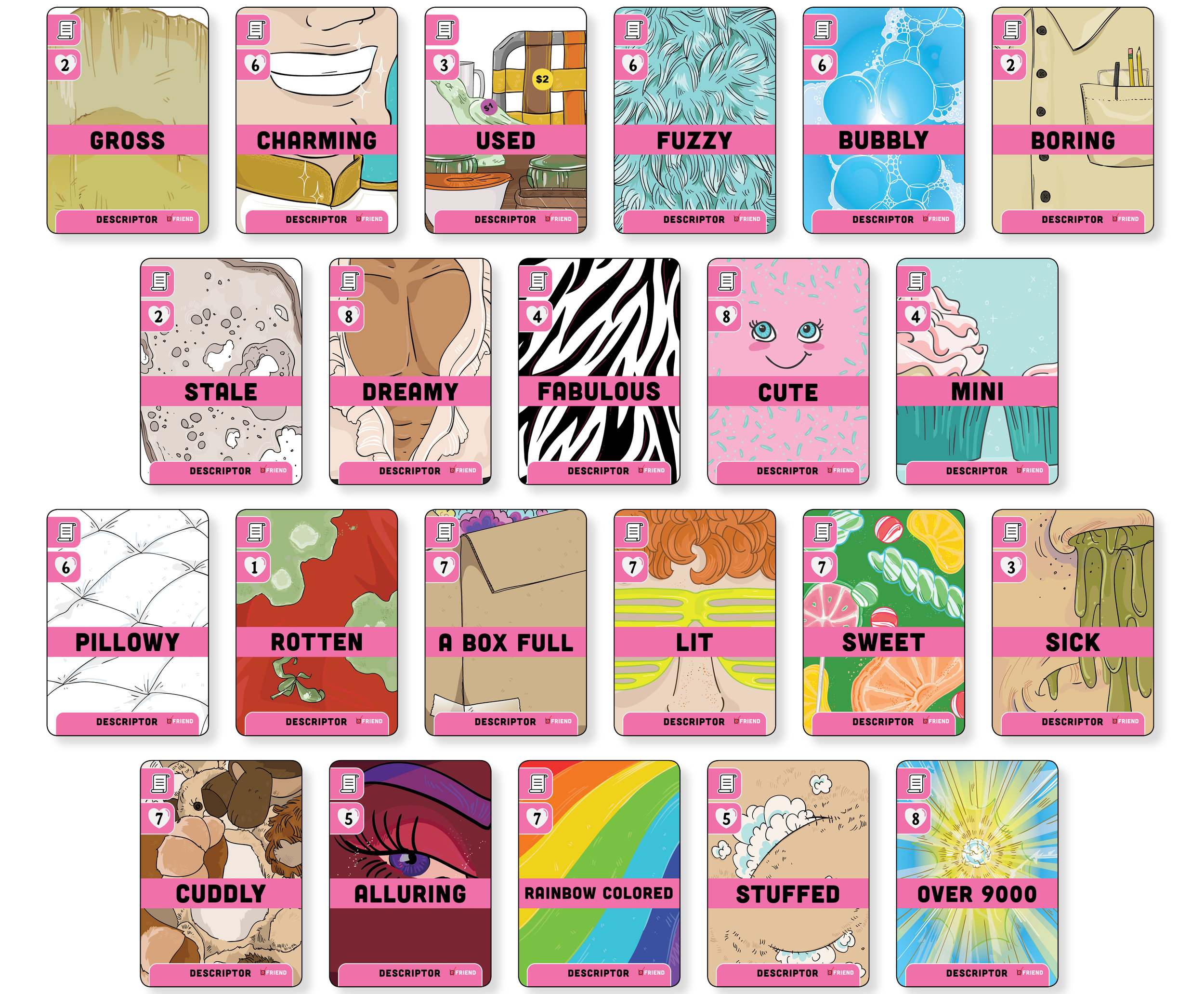Final artwork for Unicorns Friend or Foe: Friend Edition included 36 different descriptor images.