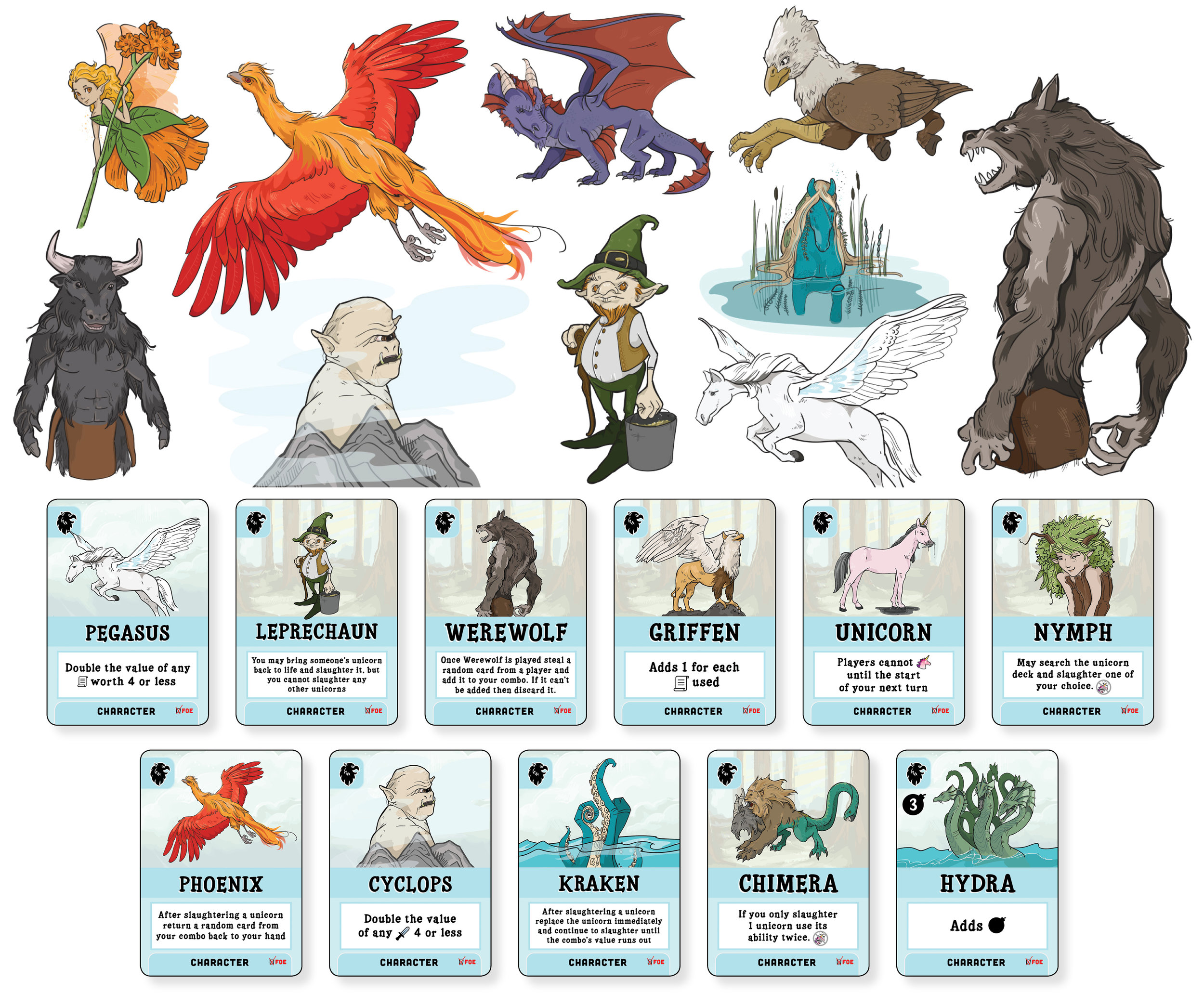 Final artwork for Unicorns Friend or Foe: Foe Edition included 24 different mythical characters.