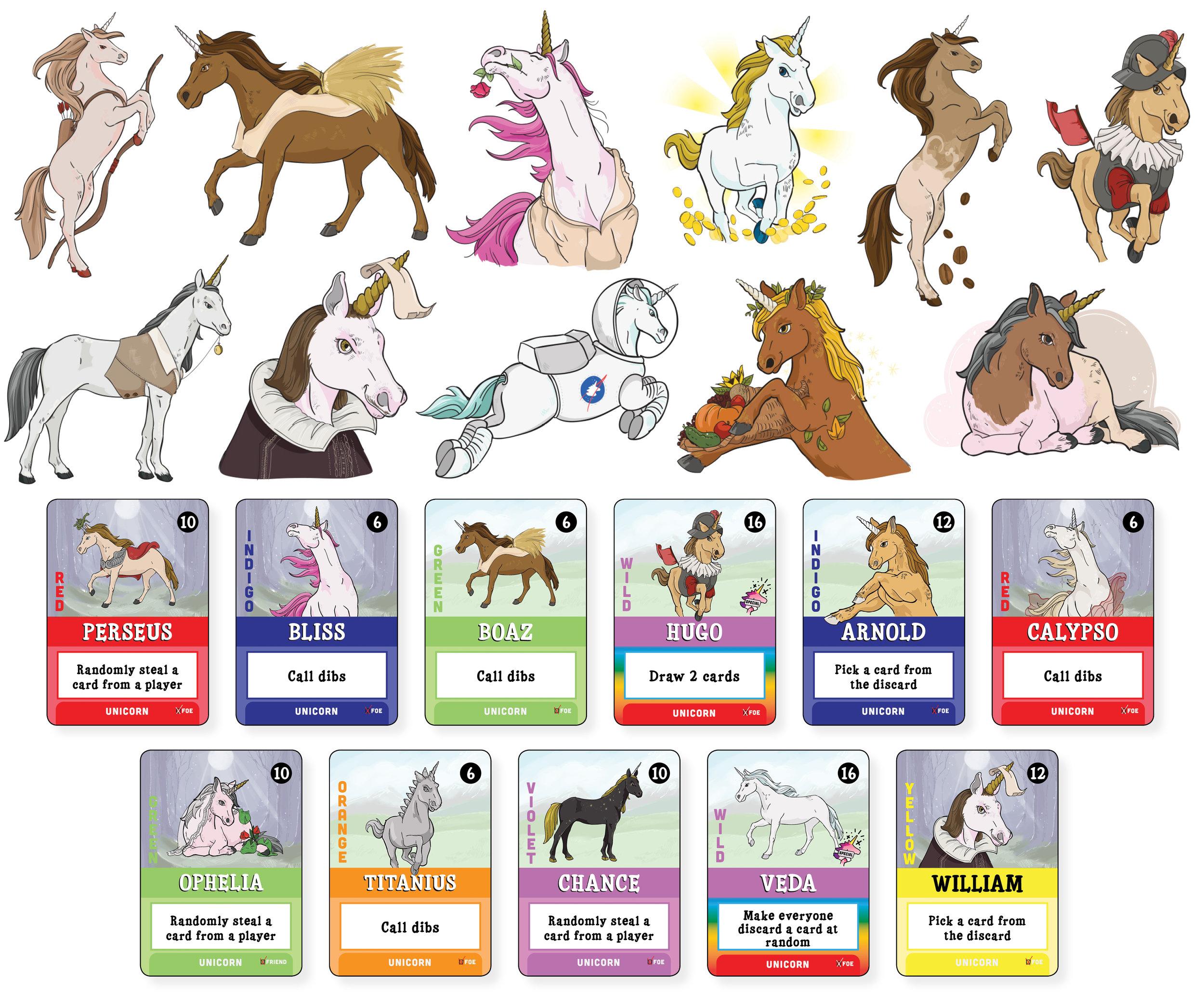 Final artwork for Unicorns Friend or Foe: Foe Edition included 36 styled unicorns.