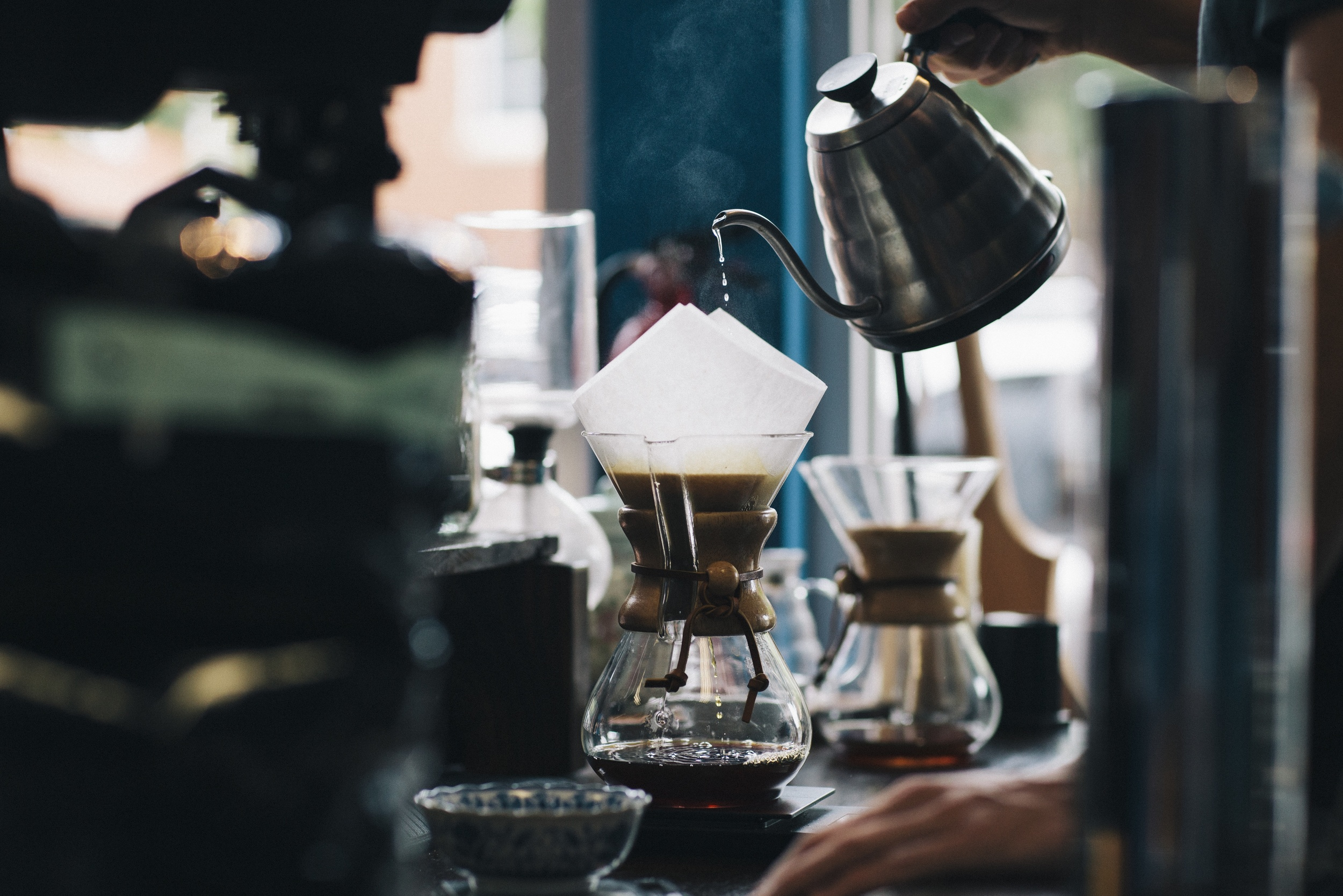 Brewing a nice Chemex, our prefered choice of brewing methods.