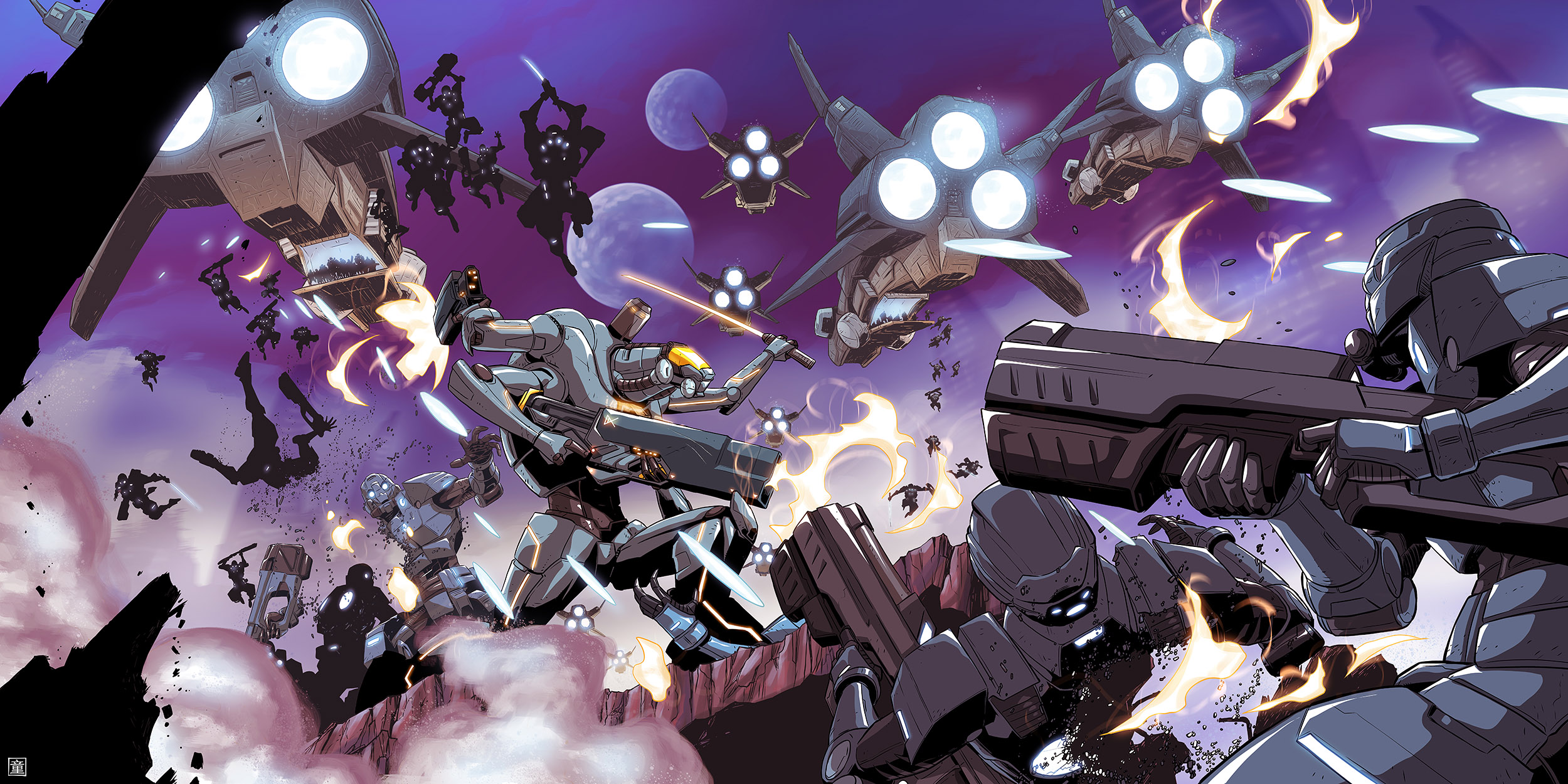 The entire alien world portion, featuring the Block-nosed Rifle being used by an intergalactic warrior in a battle against 1000 foot soldiers.