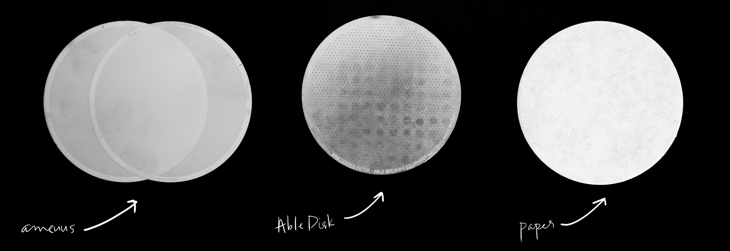 From left to right: ameuus o2 filter, Able Disk, standard paper filter
