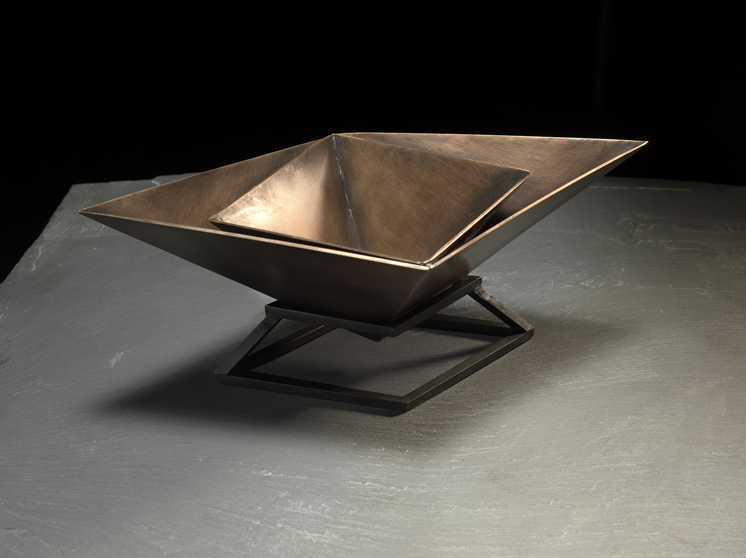 "Funerary Vessel II Silicon bronze (vessel), blackened mild steel (stand) | 8 1/2"" x 4 1/2"" x 7 1/2"" 