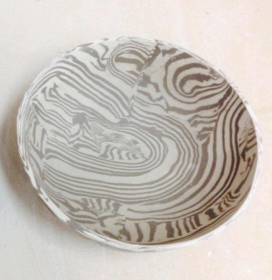 Agate/marbling trial also. The colours will be more muted once fired--sandy and white.