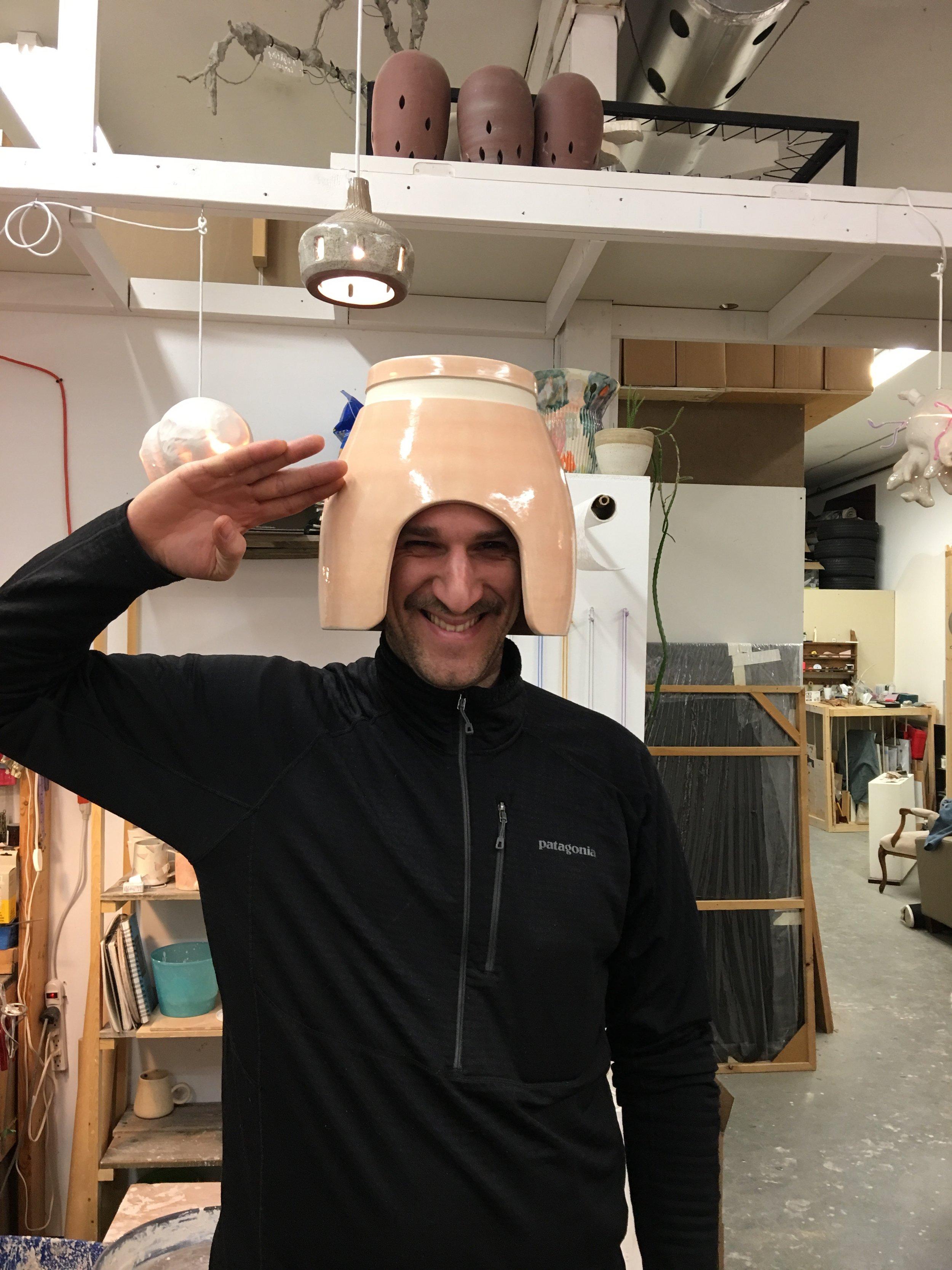 Mike Bourscheid testing the vase/helmet