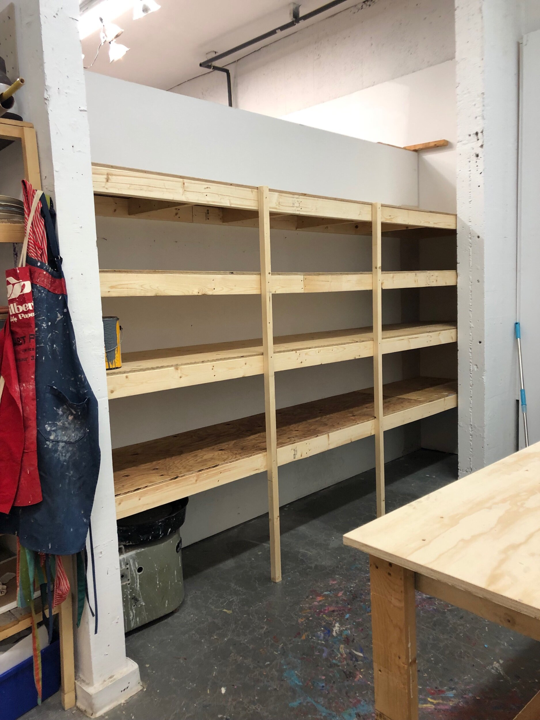 New shelving in the expanded studio space!