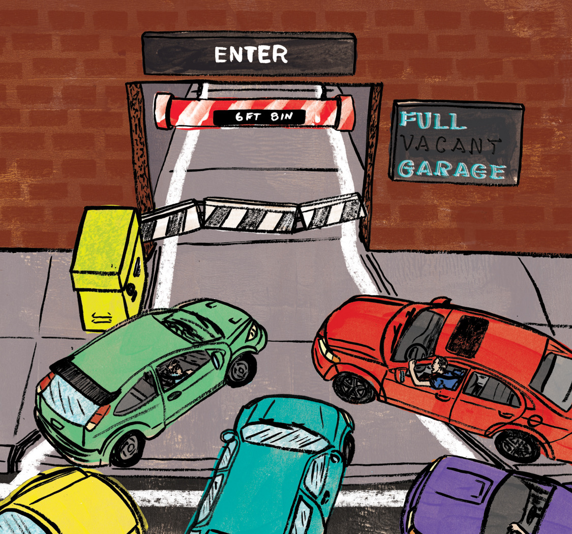 Here is something new I created for  Columbus Monthly . The illustration accompanies an essay about the rise of a younger population in Columbus, Ohio and how it's contributing to a less parking on the street and parking garages.   Art Director: Betsy Becker