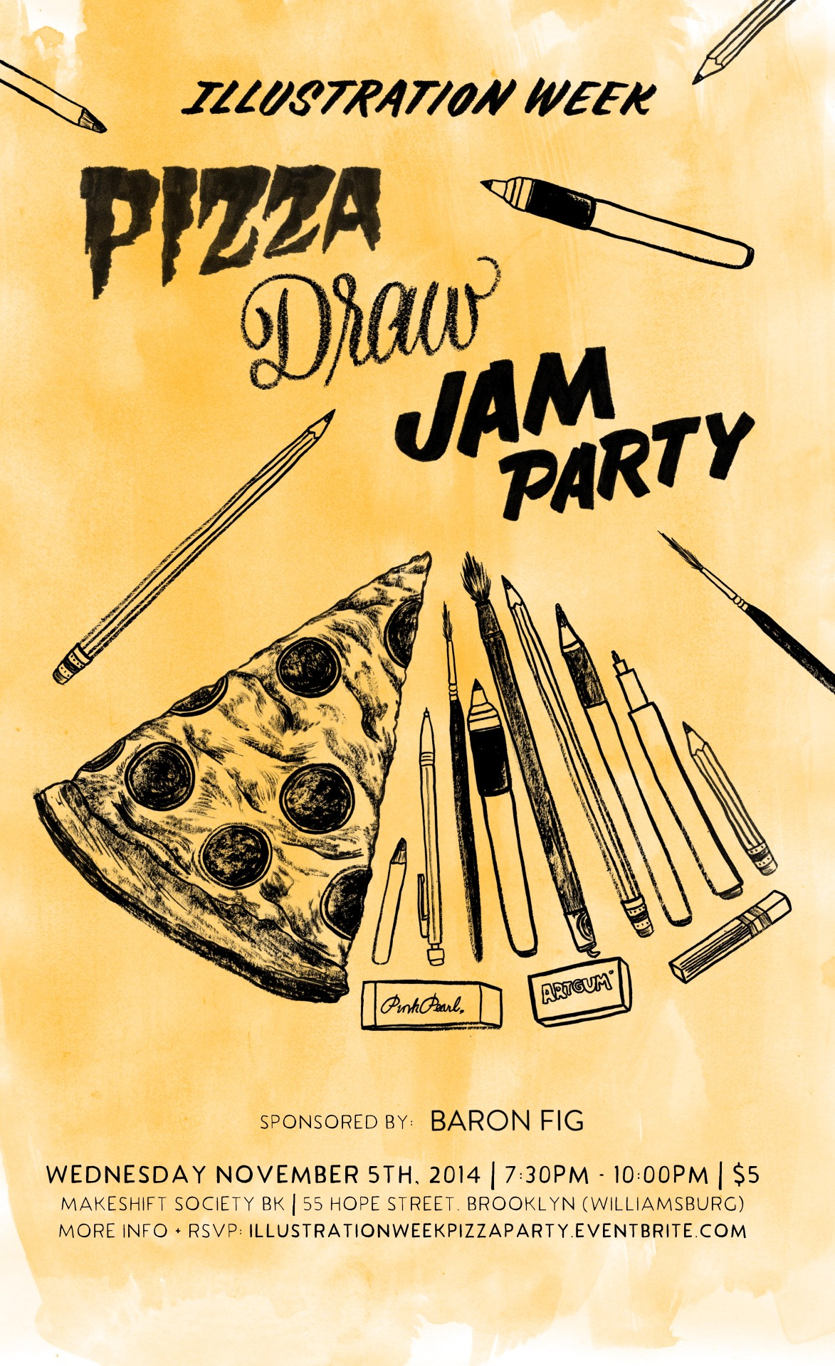 I am hosting the  Pizza Draw Jam Party during illustration week!     For more info + RSVP:  illustrationweekpizzaparty.eventbrite.com    Event Logo by  Jen Mussari    Illustration and Design by  Daniel Fishel (me!)