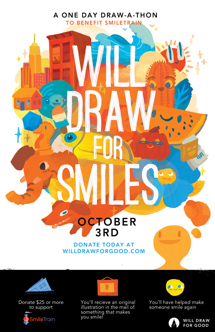 For a couple of hours in the early afternoon of Friday October 3rd, I will be drawing stuff for a good cause at  Orange You Glad's  studio.  Donate $25 or more  and you will get artwork sent you you in the mail.    Go to  Will Draw for Good's  website to learn more about the event. All money is being donated to  Smile Train  which helps children born with a cleft lip.