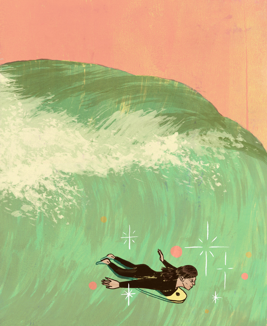 A women and her family travels every year to the west coast of Canada to go surfing on Boxing Day (the day after Christmas if you didn't know.) She prefers to ride a boogie board. There are a lot of small details in the story but in a nut shell, she finds confidence and finds herself after riding the perfect wave on her boogie board. These illustrations I do for  the Globe & Mail  always turn out really nicely and I'm glad to do one almost every single month.    Read the whole thing here…    Art Director: Matthew French (Many Many Thanks!)