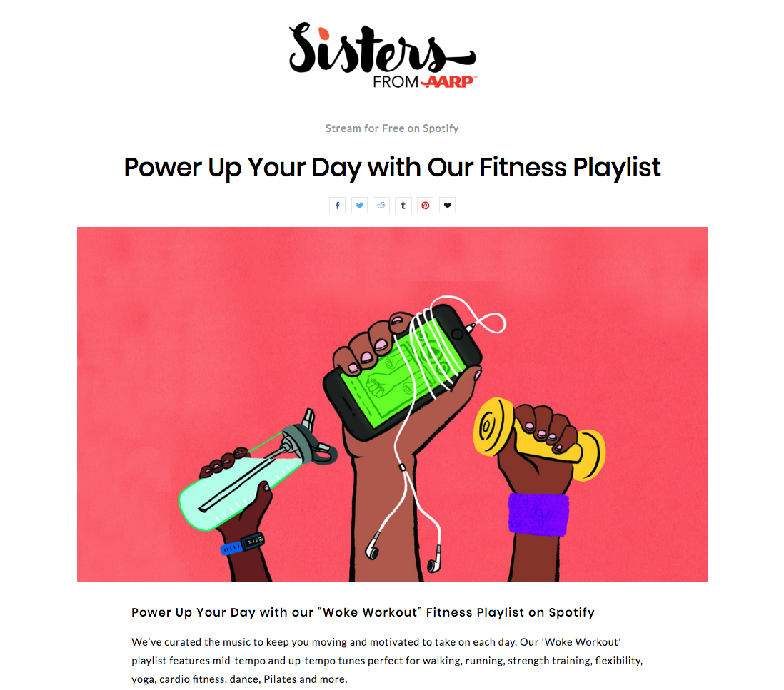 Woke workout fitness playlist for AARP's Sisters Letter