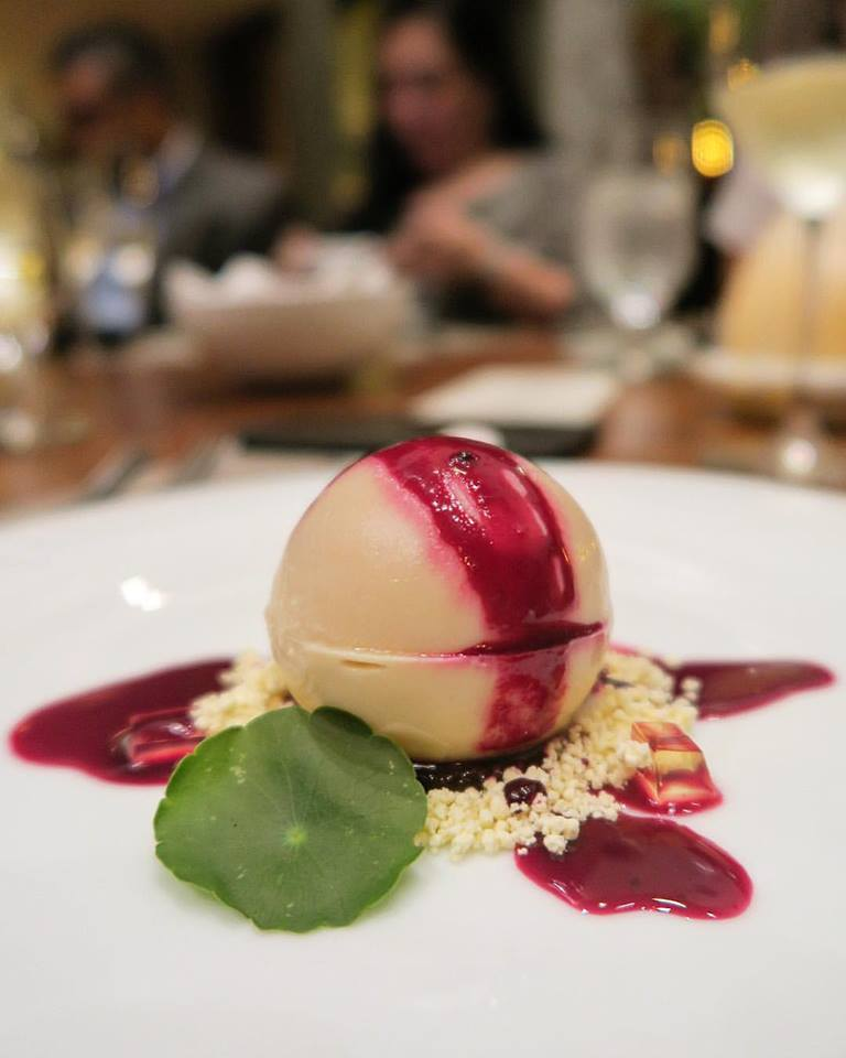 """This ball of foie gras, whom I've lovingly dubbed """"Iron Man"""", is brilliant. You break it with your spoon, and inside is a gelée of beets."""