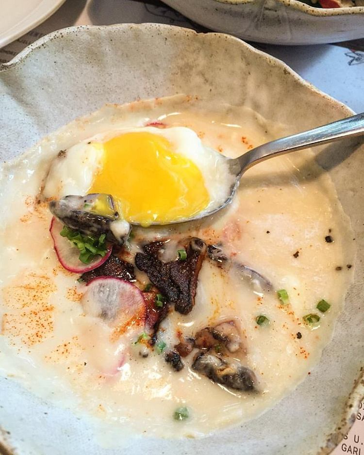 A   #Rambla  specialty - eggs cooked 65 degrees, with white bean sauce and shiitake mushrooms   🍳