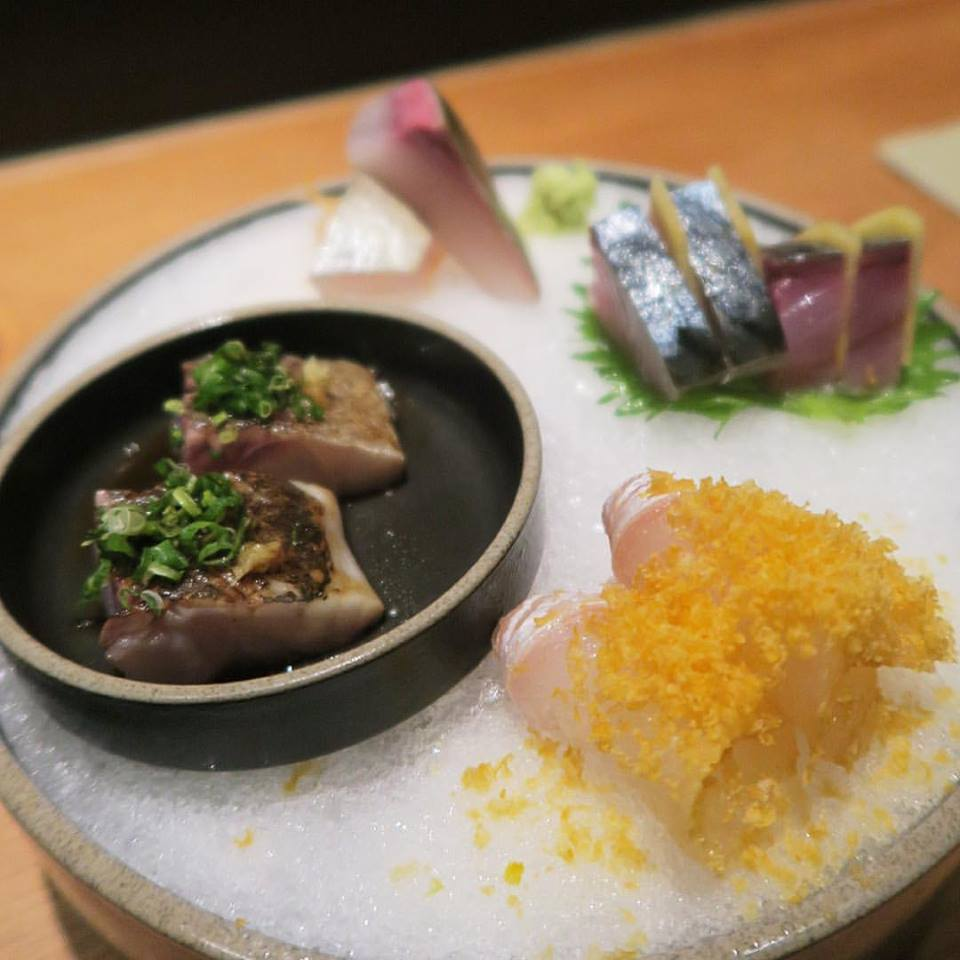 Shima aji, saba, tai sea bream with Japanese bottarga, and aji horse mackerel